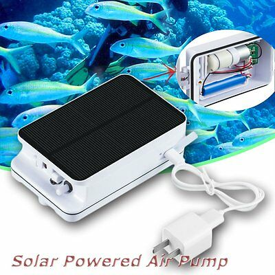 Solar Powered Portable Pool Pond Fish Tanks Oxygenator Oxygen Aerator Air Pump F