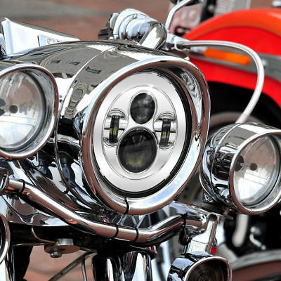 1PC Chrome 60W 7 Inch Led Headlight Harley Davidson Daymaker Yamaha Road Star