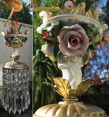 1of2 chandelier lamp Brass Swag crystal vintage Porcelain PINK barbola Rose lite