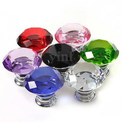 4/8Pcs 40mm Diamond Crystal Glass Door Knob Drawer Cabinet Furniture Pull Handle