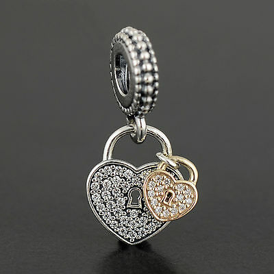 Authentic Genuine Pandora Silver 14k Gold  Love Locks Charm - 791807CZ