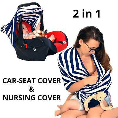 Baby infant Nursing Car Seat Cover canopy Stretchy Canopy Pocket 3 in 1 Blue