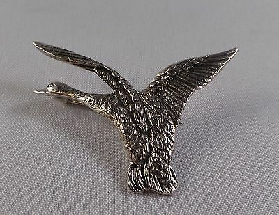 Nice Quality Sterling Silver Flying Duck Badge / Pin