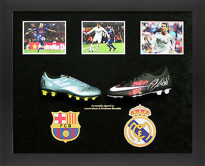 Signed Lionel Messi and Cristiano Ronaldo Signed Boots in Large Dome, Ultimate B