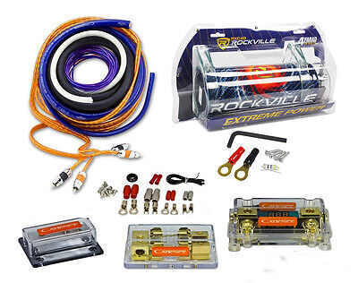Rockville RXC4D 4 Farad Capacitor+UDA0+4K Dual 0/4 AWG Amp Install Wire Kit
