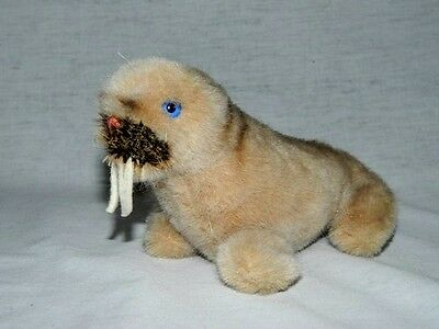 "Vintage 1984 STEIFF plush small 4"" tall light brown Walrus WALLY 1474/10"