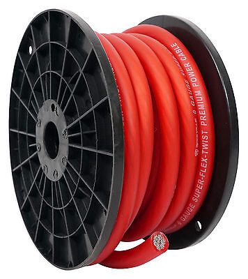Rockville R0G30RED 0 Gauge 30 Foot Spool Red Car Amp Power+Ground Wire Cable