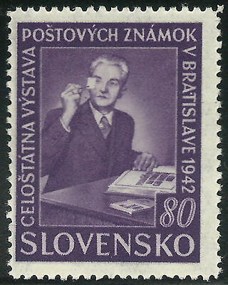Slovakia WWII 1942 Bratislava Phil. Ex. 80h with Plate Fault from Pos. 45 VF MNH