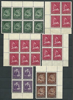 Slovakia WWII 1942 Bratislava Phil. Ex. Complete Group of 7 Plate Faults VF MNH!