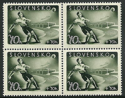 Slovakia WWII 1944 Soccer Player 70h+70h Block with Plate Fault Pos. 52 VF MNH!