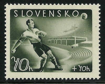 Slovakia WWII 1944 Soccer Player 70h+70h Plate Fault from Position 15 VF MNH!