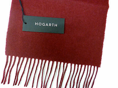 Hogarth scarf lambswool burgundy NEW mens ladies womens wool woollen warm winter