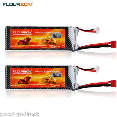 2x3S1P 11.1V 5500mAh 35C LiPo Battery Deans for RC Helicopter Airplane Car Hobby