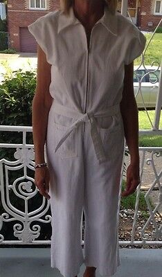 Vintage 70s Boho White Cotton Denim Jumpsuit Playsuit Romper Sears JR Bazar M
