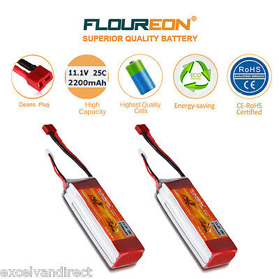 2x 3S 11.1V 2200mAh 25C Li-Po Battery Deans for RC Helicopter Airplane Car Truck