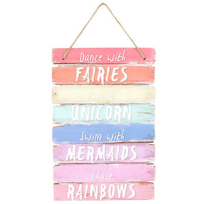 'dance With The Fairies Ride A Unicorn'  Hanging Wooden Wall Plaque Sign