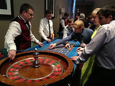 Fun Casino Hire Roulette Table  & Self Deal Poker Table with  Las Vegas Sign