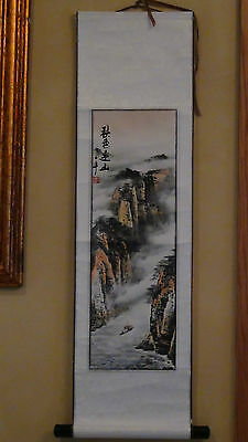 """Antique Chinese Watercolor And Ink Painting Scroll On Paper """"landscape Scene"""","""