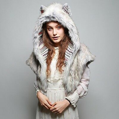 """NEW SpiritHoods """"TIMBER WOLF"""" Faux Fur Shawl - COLLECTOR EDITION"""