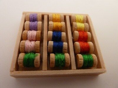 Dolls House Miniature 1:12 Scale Sewing Shop Box of Cottons (D378)