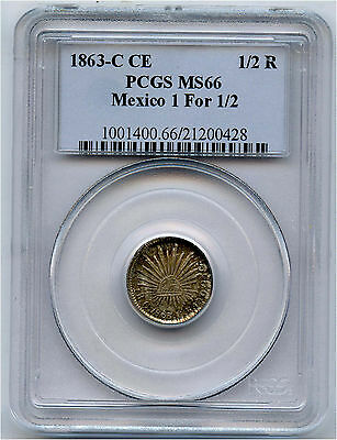 1863-C CE Silver Mexico 1/2 Real  Mexico 1 for 1/2 PCGS MS 66 Pop 1 Finest Grade
