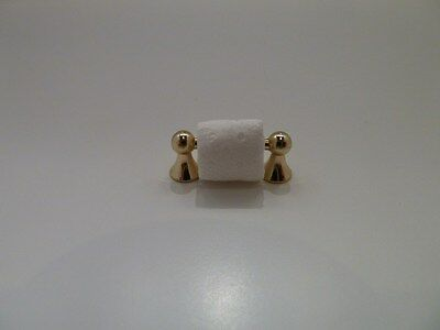Dolls House Miniature 1:12 Scale Bathroom Brass Toilet Roll Holder