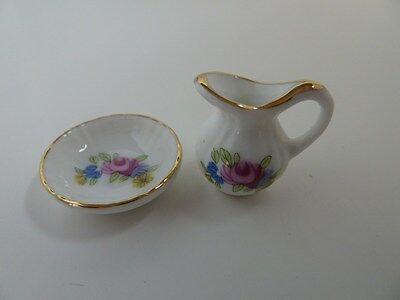 Dolls House Miniature 1:12 Scale Bathroom Pink Pattern Jug & Bowl (D1738)