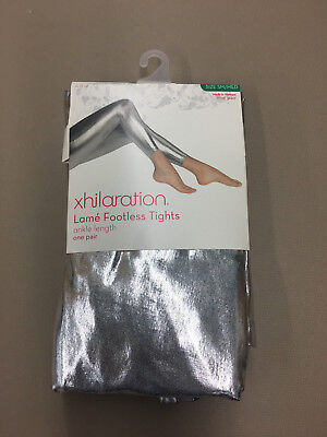 Womens Footless Leggings Lame SILVER Metallic Sexy Shiny  SM/MED