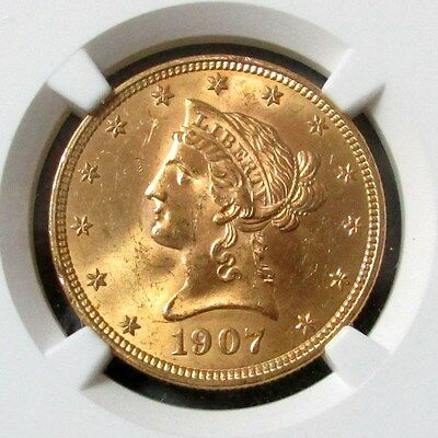 1907 Gold Us $10 Liberty Head Eagle Coin Ngc Mint State 63