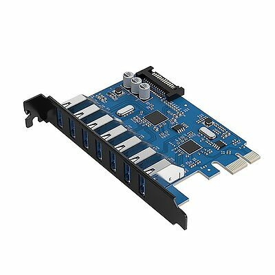 ORICO PCIe Card USB 3.0 7-Port PCI Express Expansion Adapter for Windows Desktop
