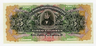 1900's Cinco Colones  - El Banco Anglo Costarricense (COSTA RICA) Note CU
