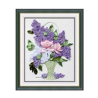 A Basket of Hyacinth Flowers Ribbon Embroidery Kit Needlework Craft DIY Decor