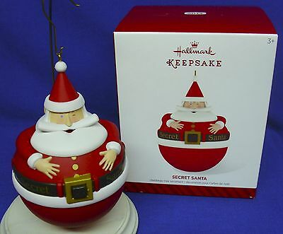 Hallmark Ornament Secret Santa 2014 Roly Poly Trinket Container Opens NIB #3