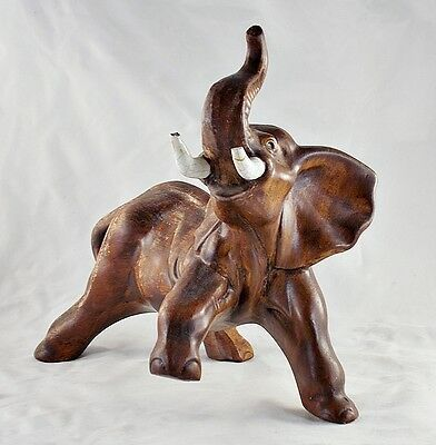"Antique/Vintage Stomping Elephant Unique Ceramic Statue Figurine 10"" Tall"
