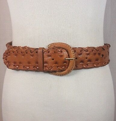 """Vintage Hand Tooled Flower Mexican Leather Belt Removable Buckle Western Sz 30"""""""