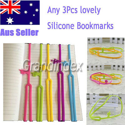 3Pcs lovely Silicone Bookmarks Funny Gift Note Memo Stationery BookMark