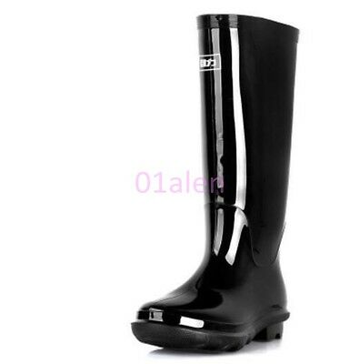 Mens Knee High Outdoor Tall Waterproof Casual Rain Rubber Galoshes Wellies Boots