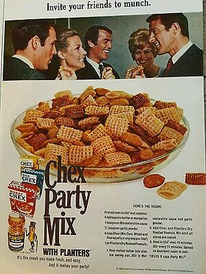 1968 Chex party mix cereal with Planters peanuts recipe ad