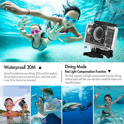 """2.0"""" 20MP Sports Action Camera F68 SUBACQUEA 30M WiFi 4K 24FPS Visione notturna"""