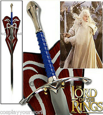 New LOTR Lord of the Rings Gandalf Glamdring Fantasy Sword w. Wooden Wall Plaque