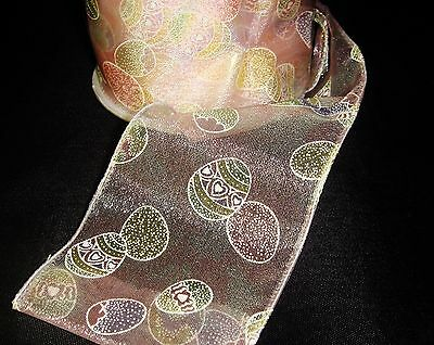 """Offray PINK SHEER Wired Ribbon EASTER EGGS 2.5"""" wide x 3 Yards NEW Spring"""