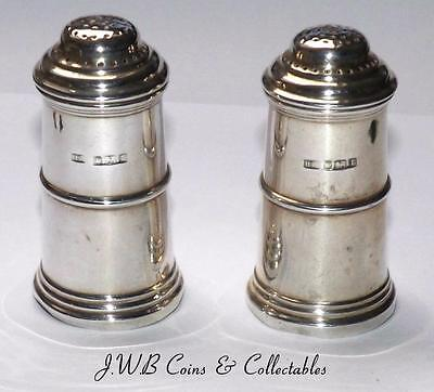 Antique Edwardian Silver Pepper Shakers Pair Hallmarked Sheffield 1909 - Ref;t/m