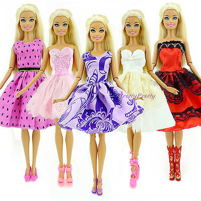 5x Random Cute Mini Dress Wedding Party Youth Skirt Clothes  For Barbie Doll H1