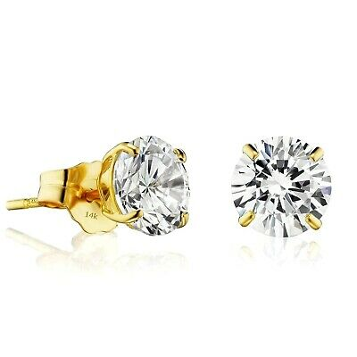 2 CT Round Created Diamond Earrings 14K Solid Yellow Gold Solitaire Basket Studs