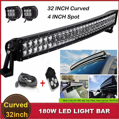 """32 inch LED Light Bar Curved + 2x 4"""" CREE Pod ATV SUV UTE 4WD Truck Jeep Ford 30"""