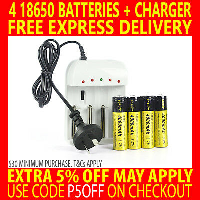 RECHARGEABLE BORUIT 4X 18650 3.7V 4000mAh Li-ion BATTERIES + AU CHARGER HEADLAMP