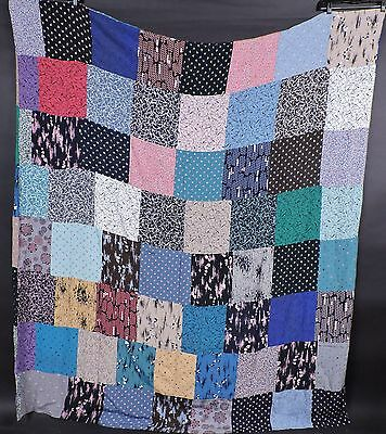 Vintage Colorful 1940'S Double Sided Rayon Patchwork Blanket / Throw