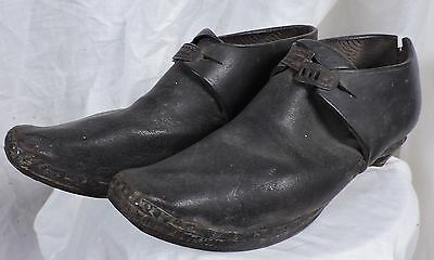 Early 19Th C Hand Sewn Leather And Wood Clogs / Shoes W Metal Clasp