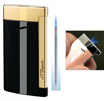 S T Dupont Slim 7 Lighter - Black Lacquer and Gold finish