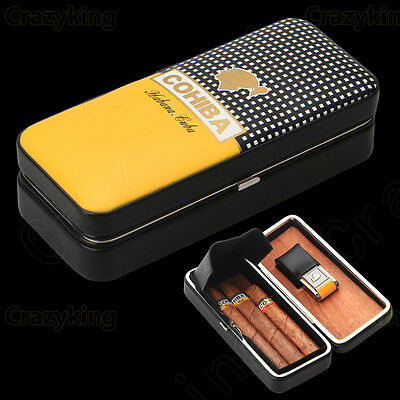COHIBA Black&Yellow Cowhide Leather Cedar 3 Tube Cigar Case Humidor With Lighter